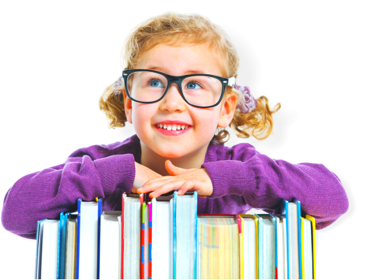 smiling kid with books in front